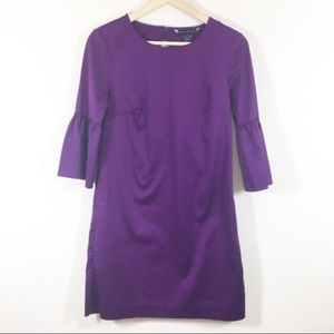 French connection purple bell sleeve shift dress